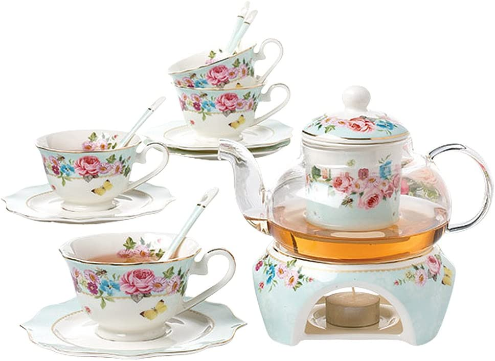 Jusalpha Max 44% OFF Fine Bone Time sale China Flower Series Spoon Teacup w Set Saucer