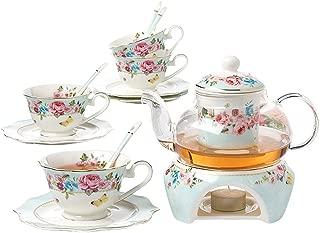 Jusalpha Fine China Flower Series Teacup Saucer Spoon Set with Teapot Warmer & Filter, 16 pcs in 1 set (FDMM Glass pot set 04)