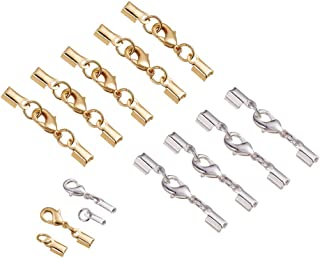 PH PandaHall 20 Sets Brass Lobster Claw Clasps Fold Over Cord End Caps Terminators Crimp End Tips for Jewelry Making, Silver & Golden