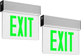 LEONLITE LED Edge Lit Green Exit Sign Single Face with Battery Backup, UL Listed, AC120V/277V, Ceiling/Left End/Back Mount Emergency Light for Hotel, Restaurant, Hospitals, Pack of 2