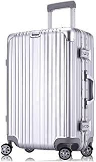 HPXCAZ Travel Case Aluminum Frame Boarding Trolley Case Universal Wheel Student Suitcase Men and Women Travel Password Box Luggage 20 Inch Color Rose Gold and Silver Black Size 53.5 * 35 * 23cm