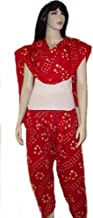 Red Bandhni Semi Patiala Salwar and Dupatta Set