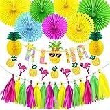 Vicor Tropisch Party Deko,Flamingo und Ananas Banner,Papierfächer Deko für Kindergeburtstag...