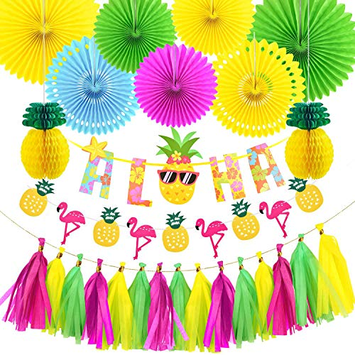 Vicor Tropisch Party Deko,Flamingo und Ananas Banner,Papierfächer Deko für Kindergeburtstag Hochzeit Luau Party