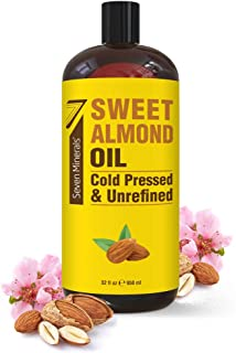 Cold Pressed Sweet Almond Oil - Big 32 fl oz Bottle - Unrefined & 100% Natural - For Skin & Hair, with No Added Ingredients - Perfect Carrier Oil for Essential Oils