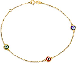 Minimalist Delicate 14K yellow Gold Plated Or .925 Sterling Silver Evil Eye Chain Anklet Ankle Bracelet For Women Teen 9-1...