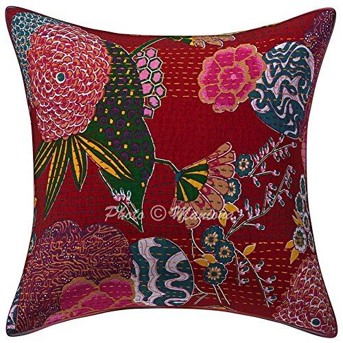 ManionaCrafts Funda de cojín de algodón con diseño Indio de Kantha, Hecho a Mano con Flores y Frutas, Funda de Almohada Decorativa