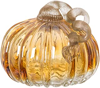 Glitzhome 4.72 Inch Amber Hand Blown Two-Tone Crackle Glass Pumpkin Ornaments Elegant Table Accent for Thanksgiving Fall Christmas Decoration