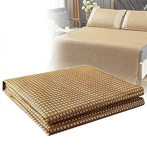 Almohadilla de ratán para Dormir de Verano,colchón de enfriamiento Plegable Almohadilla de Cubierta Plegable de Doble Cara,tapete de Aire Acondicionado Suave,1.5m(Three-piecesuit)