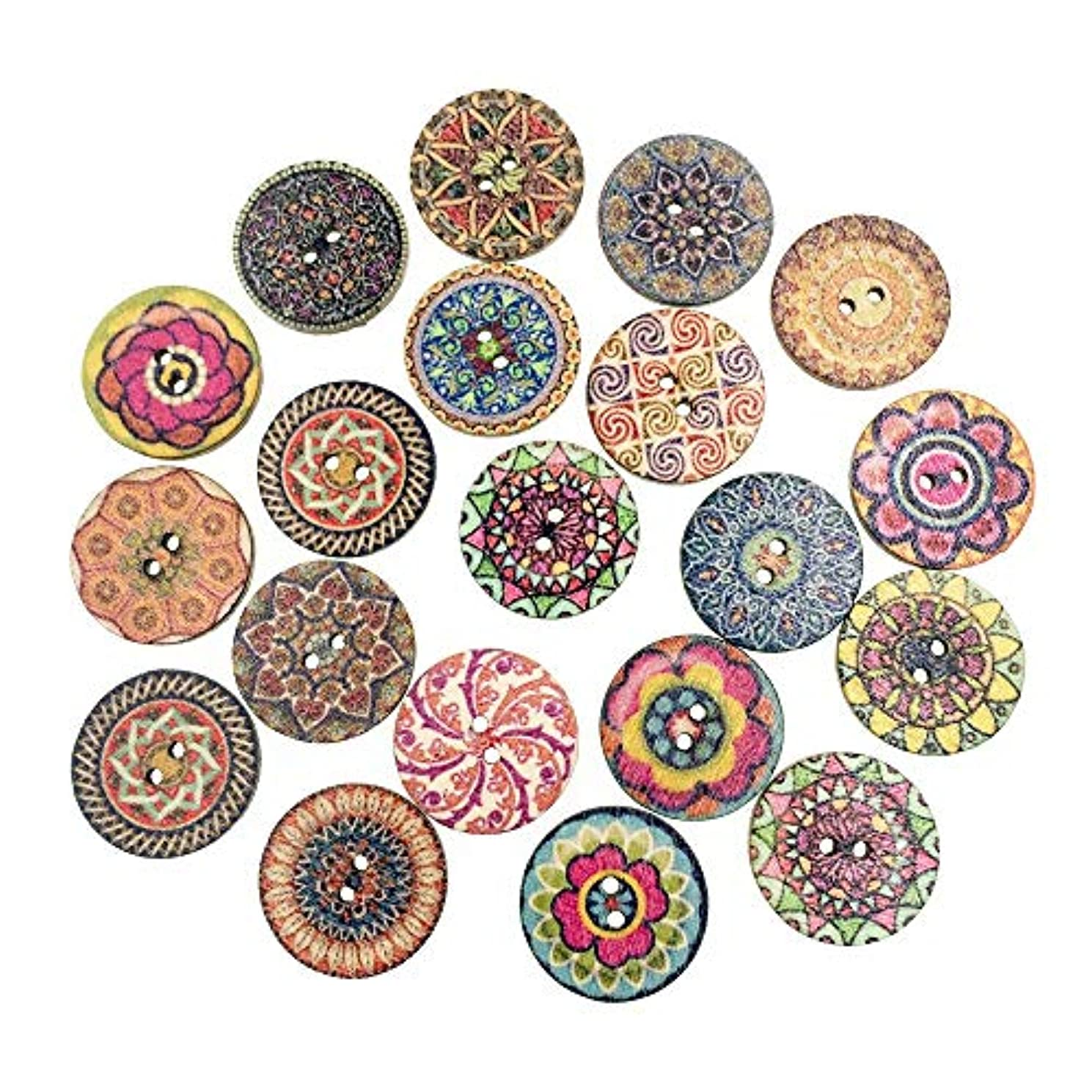 PEPPERLONELY 50PC 25mm 2 Holes Round Flatback Colorful Wooden Buttons