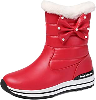 ELEEMEE Women Pull On Snow Boots Bowknot Short Round Toe Winter Boots