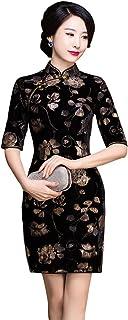 チャイナドレス ベルベット ストレッチ 花柄 5分袖 膝丈 チャイナ服 ドレス セクシー ワンピース パーティー