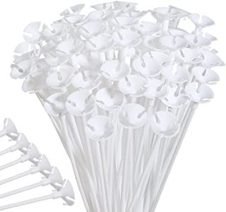 PP OPOUNT 100 Pieces White Plastic Balloon Sticks Holders and Cups for Party and Wedding Decoration