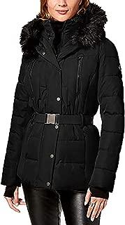 Belted Faux Fur Trim Puffer Coat