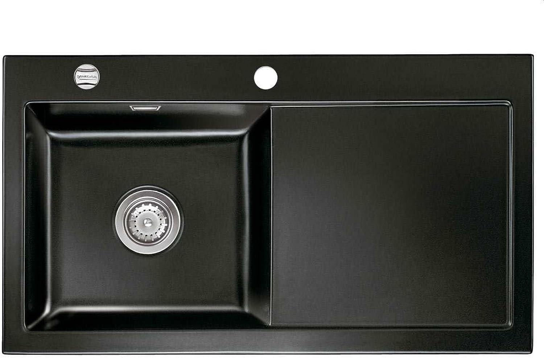 Systemceram Mera 90 schwarz Keramik-Spüle Einbauspüle Spültisch Auflage Einbau