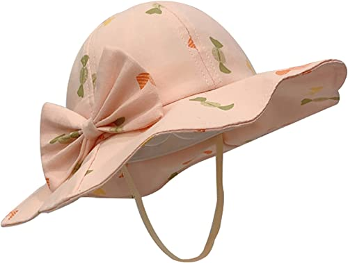 Baby Girl Sun Hat with Chin Strap Outdoor Sun Beach Cap with Wide Brim Cute Floral Printed Beach Bucket Hat