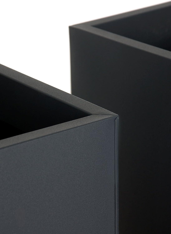 VIVANNO Pflanzk/übel Blumenk/übel Zink Metall Anthrazit Block 65 mit Einsatz
