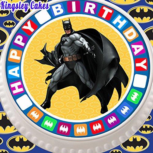 Cannellio Cakes vorgeschnittenen Essbarer Zuckerguss Cake Topper, 19,1cm rund Batman mit Happy Birthday Bordüre