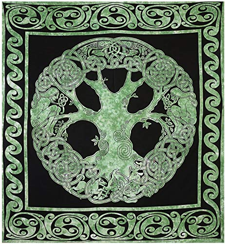 Bhagyashri Fashions Indian Mandala Celtic Tree of Life Green Color Tapestry Poster Decorative Wall Hanging Art Collage Dorm Decor Hippie Bohemian 40x30 Inches