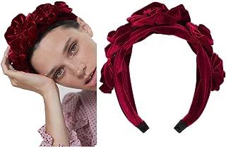 Velvet Headband for Women Flower Hardband Braid Fashion Wide Vintage Style Girl Headwear Hair Accessories for Wedding Party