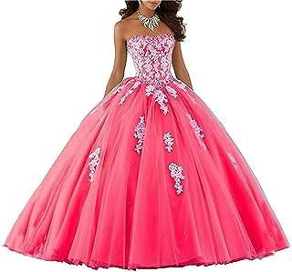 766e37bae3a XUYUDITA Mujeres Lace piso de longitud vestido de baile Quinceanera vestido  vestido de fiesta Tul