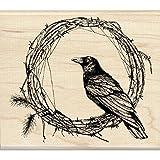 Inkadinkado 60-01108 Crow Wreath Wood Stamp, Black