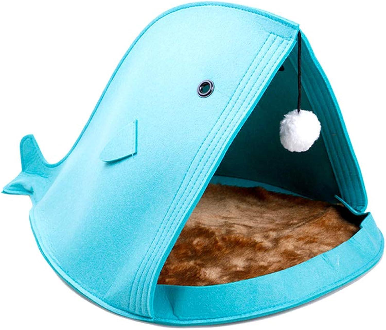 Foldable Cat Bed, SharkType Pet Nest Creative Felt Dog Cat Doggy Puppy Bed Soft House Kennel Warm Cushion,bluee