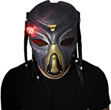 Lucky Lian Wolf Predator Mask Replica Latex Helmet Cosplay Costume with Dreads Hair for Men (Blue)