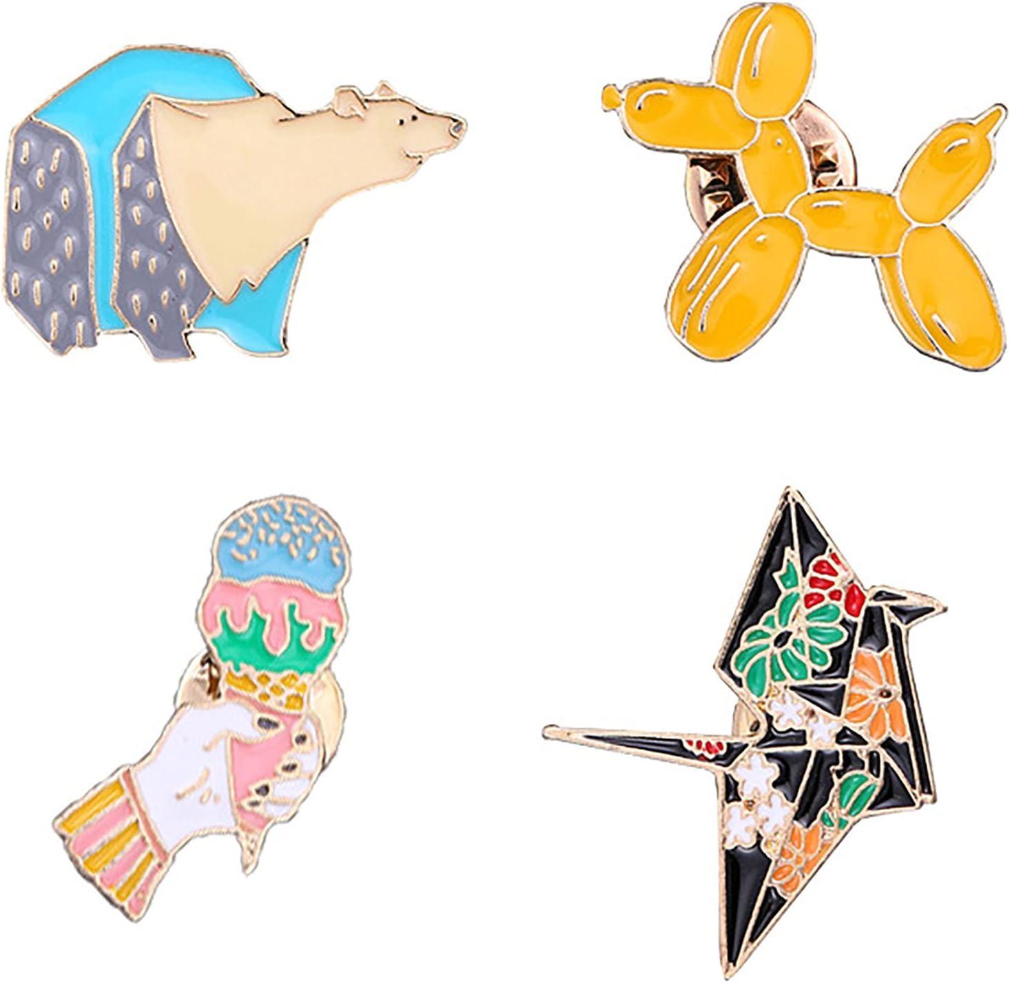 4pcs Cartoon Brooch, Paper Crane Polar Bear Balloon Dog Ice Cream Lapel Enamel Pin Boy Girl Hat Backpack Shirt Pants Alloy Badge