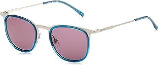 نظارة شمسية بيضاوية الشكل للرجال بتصميم كاجوال انيق من لاكوست باللون الفضي