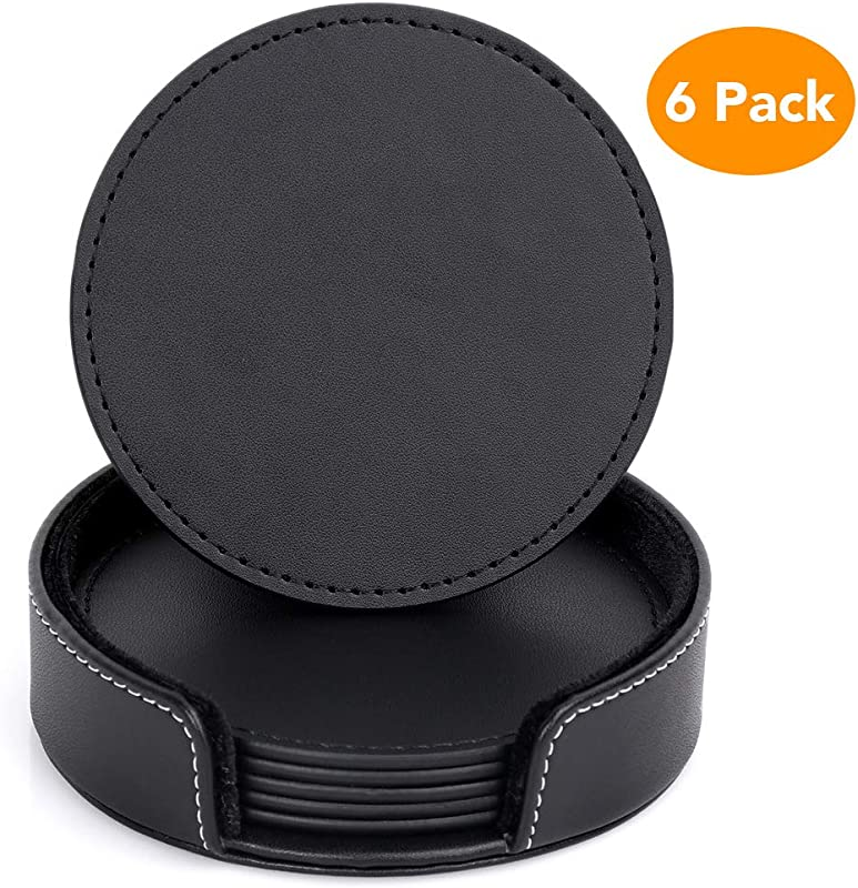 Restlandee PU Black Leather Coasters Set Of 6 Coasters With Holder Leather Coaster For Drinks Coffee Coaster Protect Furniture From Water Marks Scratch And Damage Coasters Set Of 6 With Holder