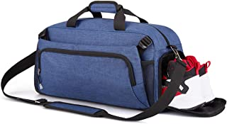 Rimposky Sports Gym Bag Travel Duffel Bag with Shoes Compartment for Men&Women (Blue)