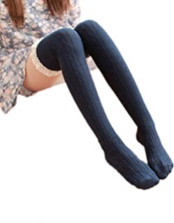 Swallowuk, swall owuk Mujer Chica Larga Calcetines 09.1808Punta Knitting kniestrümpfe azul azul marino