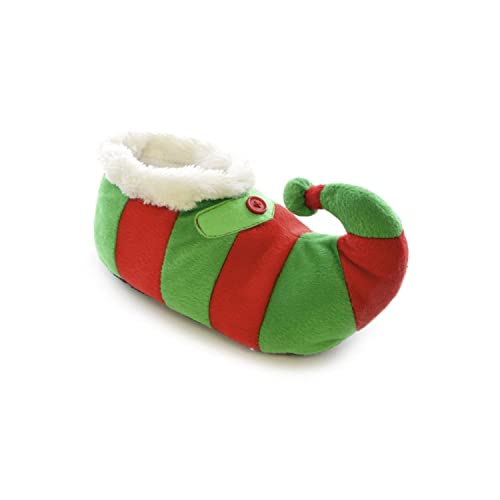 Childrens/Kids Big Boys Striped Elf Design Novelty Christmas Slippers