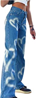 High Waisted Wide Leg Pants, Women's Straight Denim Jeans Patchwork Stitching Heart Print Pants Vintage Casual Trousers Y2...