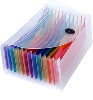 Uquelic Desk Stand Receipt Folder - 13 Pockets Expanding Coupons Storage/Rainbow Large Capacity Small Document Organizer with Label, 10 x 5 inch