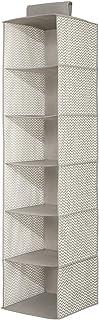 InterDesign Fabric Hanging Closet Storage Organiser with 6 Shelves, Grey/Polka Dot, 29.8 x 29.8 x 127 cm