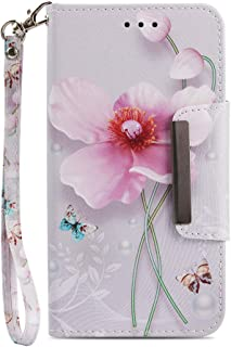 JanCalm iPhone 8 Plus Wallet Case [Folio Cover][Stand Feature] Premium [Flower] Pattern iPhone 8 Plus/7 Plus Credit Card Flip Case Protective PU Leather with Card Slot + Wrist Strap + Crystal Pen