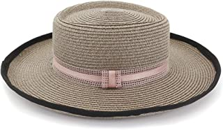 LiWen Zheng Fashion Flat Top Hat Outdoor Seaside Sun Visor Bow Decoration With Solid Color Sun Hat