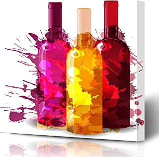 Onete Canvas Prints Painting Artwork 12x12 Ink Freshness Group Wine Bottles Glass Grunge Splashes Red Abstract Food Drink Wineglass Bottle Wall Art Printing Home Bedroom Living Room Office Dorm