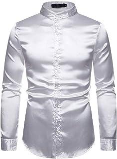 Loyomobak Men Long Sleeve Dress Shirt Regular-Fit Satin Button Front Shirt
