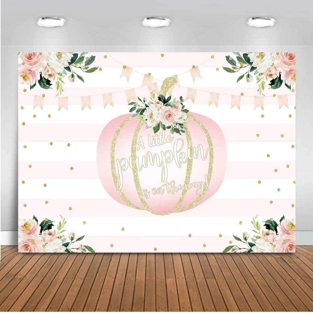 New Pumpkin Baby Shower Backdrop 7x5ft Vinyl Pink and White Striped Floral Gold Dots Little Pumpkin Photo Backdrops Autumn Thanksgiving Baby Shower Photography Background