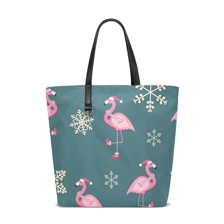 安心させる撤退予見するトートバッグ かばん ポリエステル+レザー クリスマス かわいい フラミンゴ柄 スノーフレーク 両面使える 大容量 通勤通学 メンズ レディース