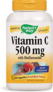 Nature's Way Vitamin C 500 mg with Bioflavonoids; 1000 mg Vitamin C per Serving; 250 Capsules