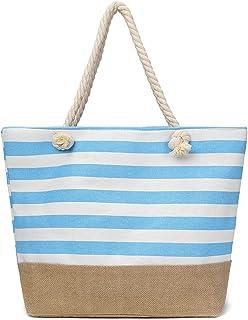 Large Canvas Striped Beach Bag Tote Beach Bag with Zipper Shoulder Handbags Beach Travel