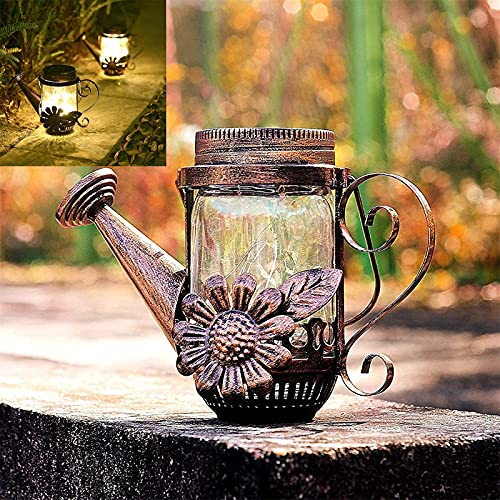 Luz solar para regadera, hervidor de agua LED, luces solares para jardín al aire libre, luces de cascada para exteriores, lámpara solar de vidrio con Ip55 a prueba de agua, para fiestas de Navidad