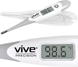 Vive Precision Oral Thermometer - Digital Basal Body Temperature Monitor for Fevers - Electronic Axillary Underarm, Quick, Accurate, Waterproof, Medical Rectal, Armpit Device - Adults and Children