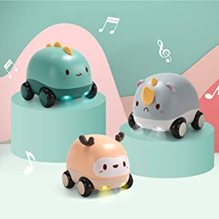 Sponsored Ad - CUTE STONE Friction Powered Cars,Baby Toy Cars with Lights and Music,One Click Switch Music,Cartoon Animal ...