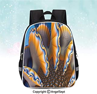 Nylon Fabric Backpack,Fantastic Shells in the Sea Ocean Sci Fi Style Featured Artsy Graphic,13″,Casual Fashion School Backpack,Blue Apricot
