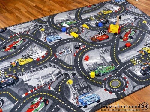 Snapstyle Alfombra Carretera Infantil de Juegos Disney Cars - Gris 17 tamaños